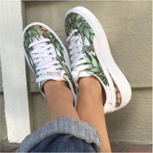Puma Pineapple Print White Leather Sneakers